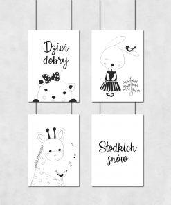 Czarno-biały zestaw dziecięcych plakatów