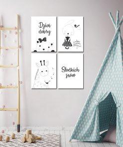 Cztery plakaty na ścianę do pokoju dziecka