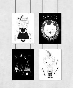 Cztery plakaty do pokoju dziecięcego