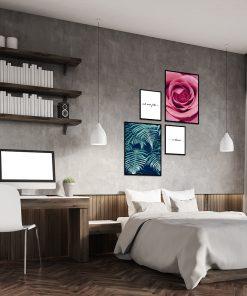 Zestaw plakatów z motywem roślinnym do sypialni
