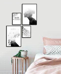 Czarno-biały komplet plakatów do sypialni