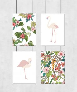 Różowo-zielony zestaw plakatów