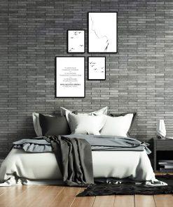 Komplet plakatów czarno-białych do salonu