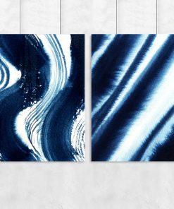 Plakat podwójny z abstrakcją w kolorze niebieskim