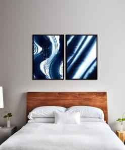 Abstrakcyjny zestaw niebieskich plakatów do sypialni