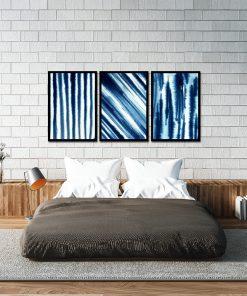 Granatowy plakat tryptyk do sypialni