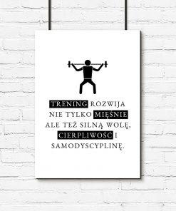 Plakat czarno-biały do siłowni