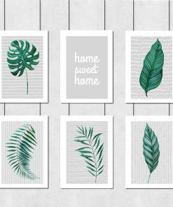 Galeria sześciu plakatów z napisem i liśćmi