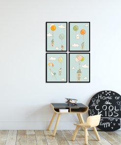 Niebieski zestaw plakatów do pokoju dziecięcego