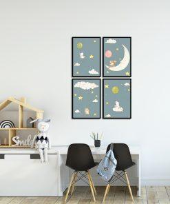 Komplet czterech plakatów do pokoju dziecka