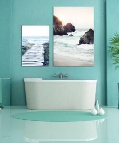 Komplet plakatów ze zdjęciem morza do łazienki