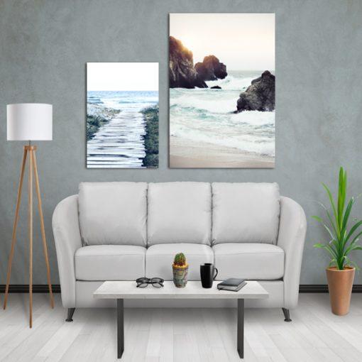 Komplet dwóch plakatów z morzem do salonu