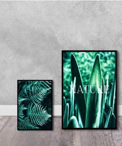 Dwa plakaty w kolorze zielonym do salonu
