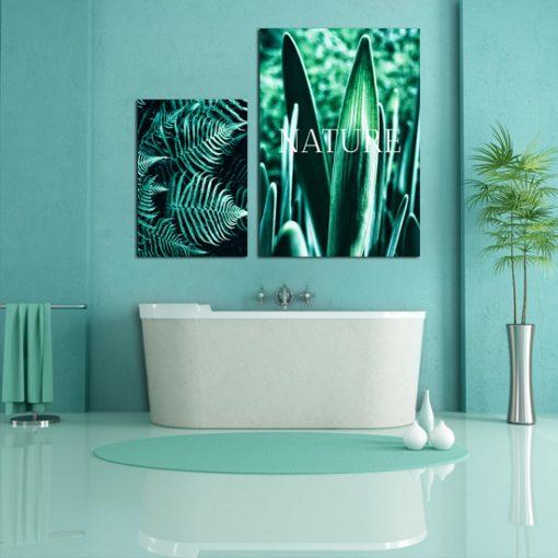 Komplet zielonych plakatów do łazienki