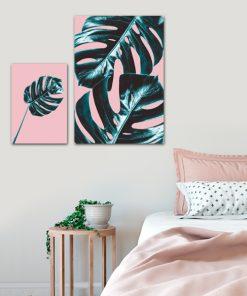 Zestaw plakatów z liśćmi monstery do sypialni