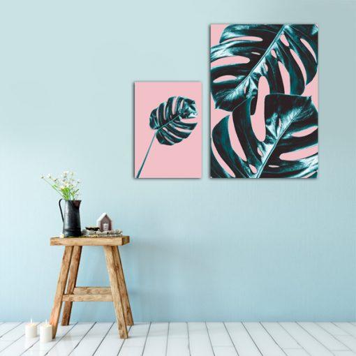 Komplet różowych plakatów w zielone liście