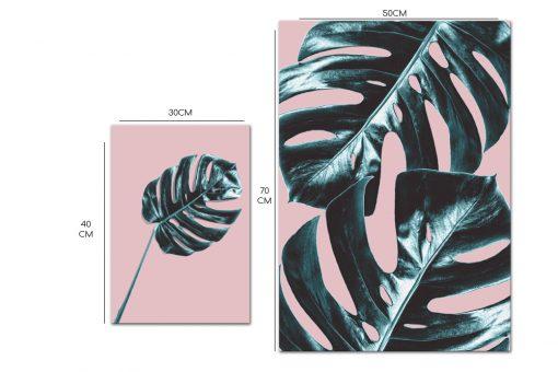 Zestaw różowych plakatów z motywem liści tropikalnych