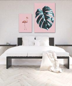 Różowy zestaw dwóch plakatów do sypialni
