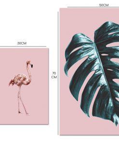 Dyptyk z flamingiem i tropikalnym liściem