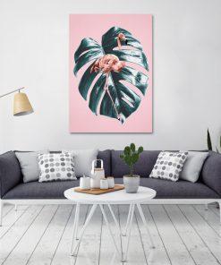 Różowy plakat z flamingiem do salonu