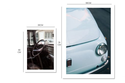 Plakat dyptyk z motywem niebieskiego samochodu retro