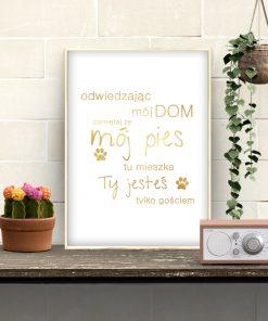 Złoty plakat z napisem do przedpokoju