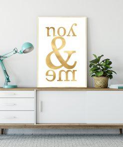 Pozłacany plakat z efektem lustra do salonu