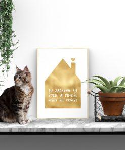 Złoty plakat na ścianę do przedpokoju