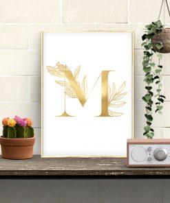 Złoty plakat do dekoracji przedpokoju