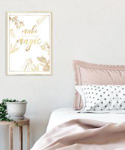 Złoty plakat na ścianę do sypialni