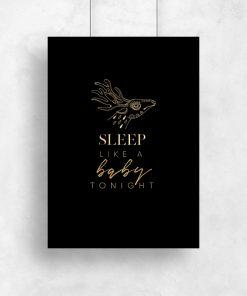 Metaliczny plakat do ozdoby sypialni