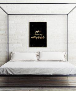 Złoty plakat do ozdoby sypialni