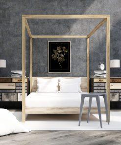 Czarno-złoty plakat do dekoracji sypialni