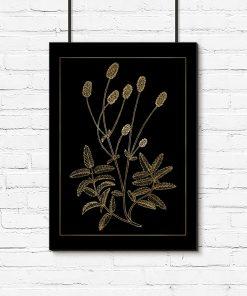 Czarno-złoty plakat do dekoracji kuchni