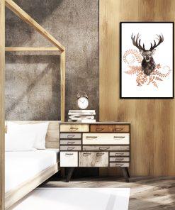lustrzany plakat z jeleniem