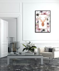 Plakat metaliczny w stylu boho do salonu