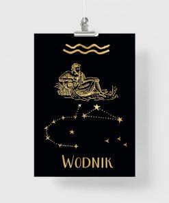 Czarny plakat z motywem złotego zodiaku