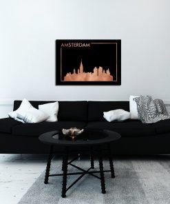 Czarny plakat z miedzianym efektem do salonu