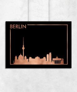 Czarno-miedziany plakat do sypialni