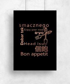 Czarny plakat z motywem napisów do kuchni
