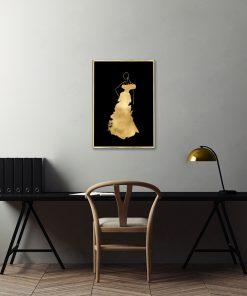 czarne tło i złoty plakat