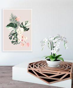 Plakat z motywem liści i kwiatów