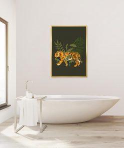 Plakat z tygrysem i liśćmi