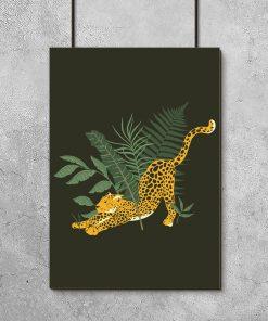 Plakat liście i gepard
