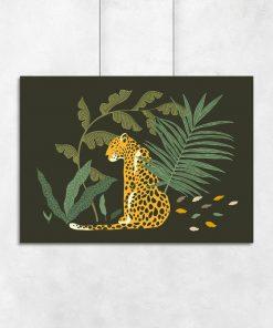 Plakat gepard wśród liści