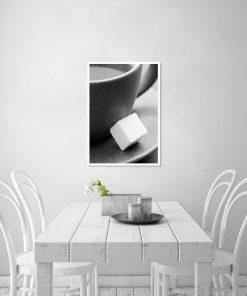 Plakat kostka cukru i filiżanka
