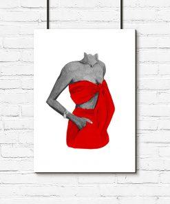 Plakat kobiece ciało w czerwonym stroju
