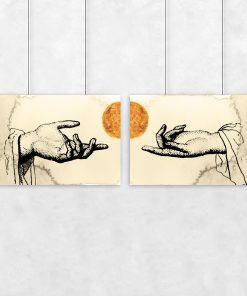 Beżowy dyptyk dłonie