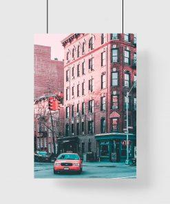 Plakat róg nowojorskiej ulicy