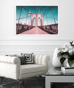 Plakat turkusowy Brooklyn Bridge